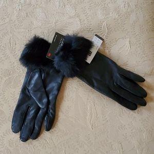 Carole Little Fur Cuffed Leather Gloves